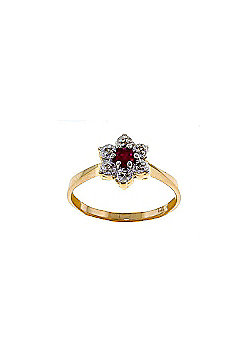 QP Jewellers Ruby & SI-2 Diamond Ontario Wildflower Ring in 14K Gold - Size D 1/2