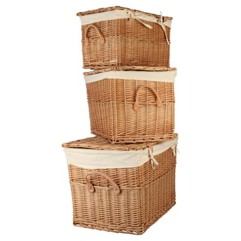 buy wicker lidded baskets 3 pack from our crates boxes. Black Bedroom Furniture Sets. Home Design Ideas