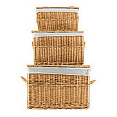 Tesco Basic Set of 3 Wicker Lidded Baskets Honey Coloured