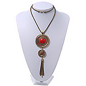 Long Red Tassel Pendant Necklace In Burn Gold Finish - 70cm Length