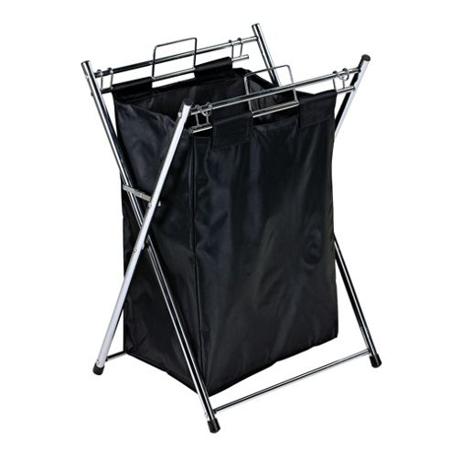 Tesco Folding Laundry Bin, Chrome/Black