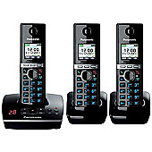 Panasonic KX-TG8063EB Triple Pack DECT Phone Sets, Answering Machine, LCD Screen, Black