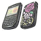 Black Pink Rose FunkGem Back Cover Case - BlackBerry 8520 Curve, 9300 3G