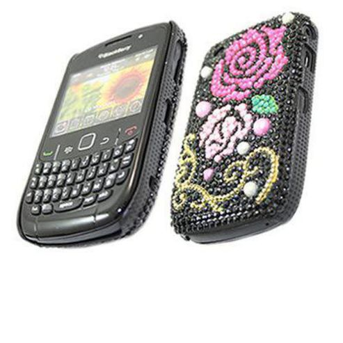 iTALKonline Black Pink/Rose FunkGem Back Cover Case - For BlackBerry 8520 Curve, 930.3G.