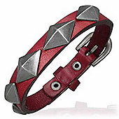 Urban Male Studded Red Leather Wristband Bracelet For Men