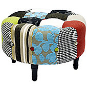 Plush Patchwork - Round Pouffe Footstool With Wood Legs - Blue / Green / Red