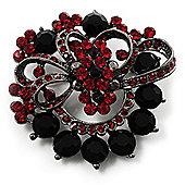 Red & Jet-Black Diamante Corsage Brooch (Black Tone)
