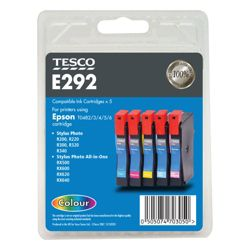 Tesco E292 Colour Printer Ink Cartridge Multipack (Compatible with printers using Epson T0482/T0483/T0484/T0485/T0486 Cartridges/T0487 multipack)