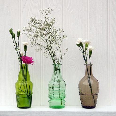 Set of 3 recycled glass vases