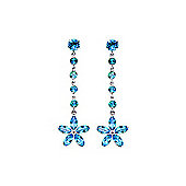 QP Jewellers 4.80ct Blue Topaz Daisy Chain Earrings in 14K White Gold