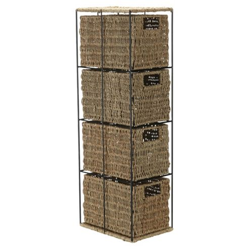 Tesco Seagrass 4 Drawer Tower