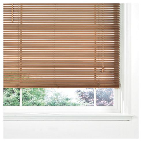 Sunflex Wood Venetian Blind, 25Mm Slats, Oak Effect 120Cm