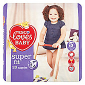 TESCO LOVES BABY SUPER FIT SIZE 5+ JUNIOR+ CARRY PK - 23 NAPPIES