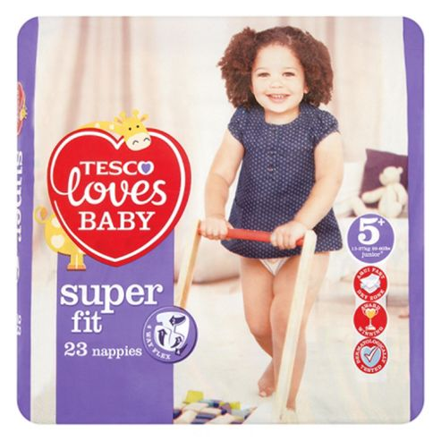 Tesco Loves Baby Super Fit Nappies - Size 5+ - Junior - 23 Nappies.