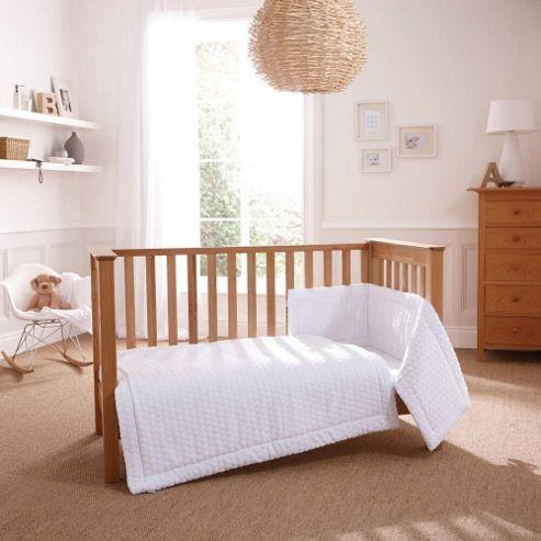 Clair de Lune 3pc Cot Bed Bedding Set (Marshmallow White)