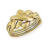 Jewelco London 9ct Yellow Gold - Four-Row Puzzle Ring -