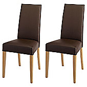 Lucca Pair Of Chairs Oak Legs & Brown Leather
