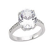 Jewelco London Rhodium-Coated Sterling Silver Solitaire Dress Ring Size