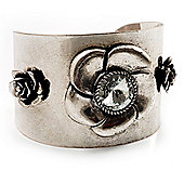 Vintage Wide Rose Cuff Bangle (Antique Silver)