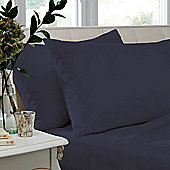 Catherine Lansfield Non Iron Percale Combed Poly-Cotton Flat Sheets in Navy - King