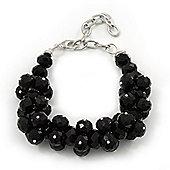 Black Glass Cluster Bracelet In Silver Plating - 16cm Length/ 7cm Extension