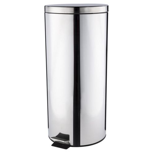 Tesco 30L Stainless Steel Pedal Kitchen Bin With Stainless Steel Lid