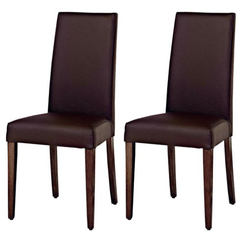 Lucca Pair Of Chairs Walnut Legs & Brown Leather