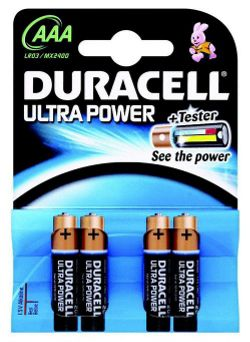 Duracell Ultra Power 4 Pack AAA Batteries