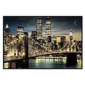 Manhattan, New York City Gloss Black Framed Twinkling Lights Poster