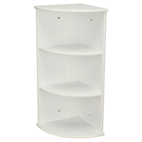 Buy southwold white wood tongue groove style 3 tier wall - White bathroom corner shelf unit ...