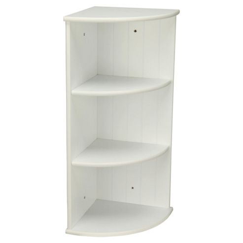 Southwold White Wood Tongue & Groove Style 3 Tier Wall Mounted Corner Shelf Unit