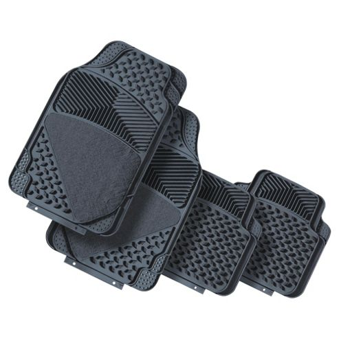 Tesco Car Mats 4 Set Rubber-Carpet Grey