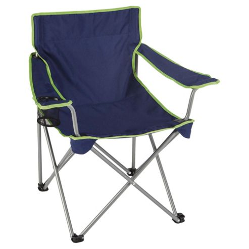 Tesco Folding Camping Chair, Blue with Green Trim