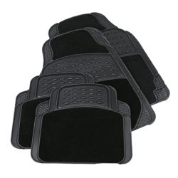 Tesco Car Mats 4 Set Rubber-Carpet Black