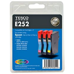 Tesco E252 Colour Printer Ink Cartridge Multipack (Compatible with printers using Epson T0612/T0613/T0614 Cartridges/ T0615 multipack)