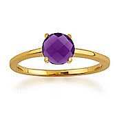 Gemondo Amour Damier 9ct Yellow Gold 0.90ct 4 Claw Set Checkerboard Amethyst Ring