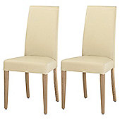 Lucca Pair Of Chairs Oak Legs & Cream Leather