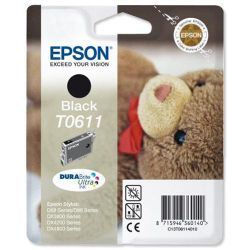 Epson T0611 Ink Cartridge for Stylus D68/D68PE/D88/D88PE/DX4800/DX4850/DX3800/DX3850 Printers - Black