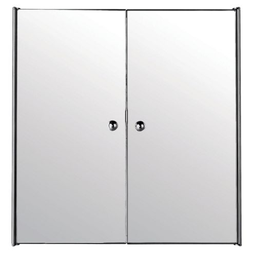 Stainless Steel Mirrored Double Door Bathroom Cabinet