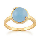 Gemondo Blue Jade 'Vita' Pastel Ring in 9ct Yellow Gold Plated Sterling Silver