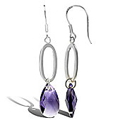 Jewelco London Rose Coated Sterling Silver Crystal Amethyst colour Swarovski Drop Earrings