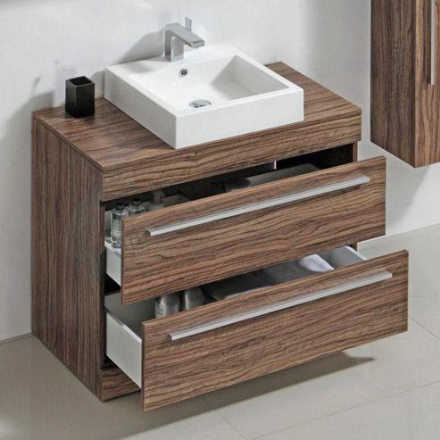Buy Prestige Oslo Floor Mounted Bathroom Vanity Unit 800mm High X 900mm Wide Light Walnut