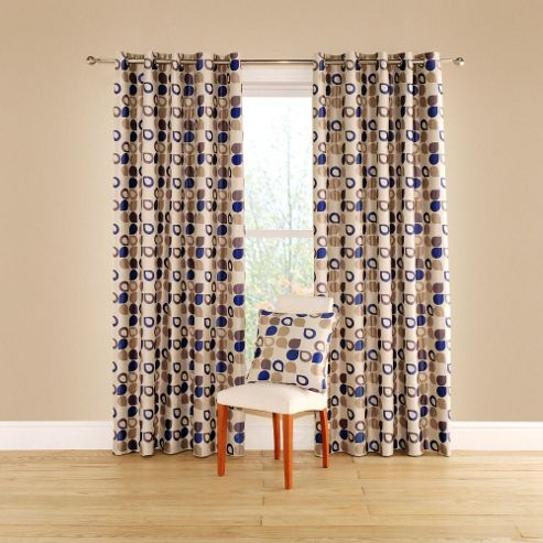 Dacota Lined Curtains with Eyelet Heading in Cobalt - 116cm Width x 137cm Drop
