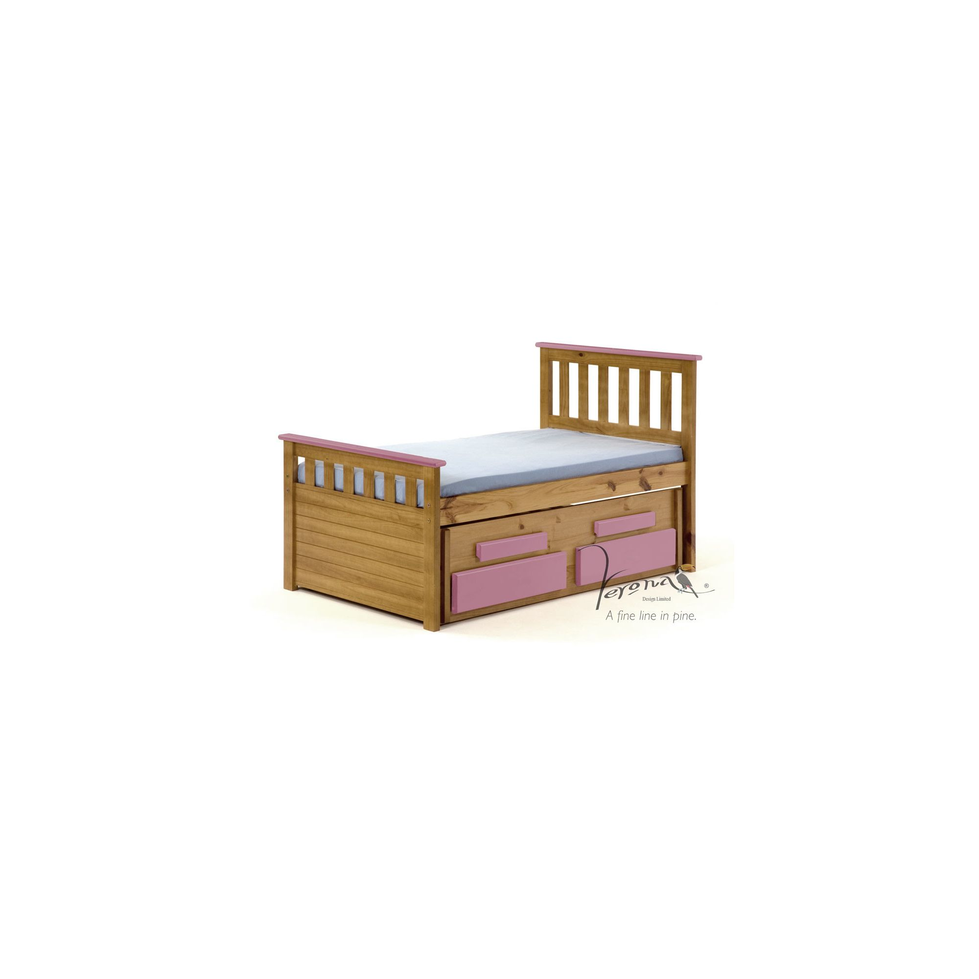Verona Bergamo Kids Captains Bed with guest bed - Antique Pink at Tesco Direct