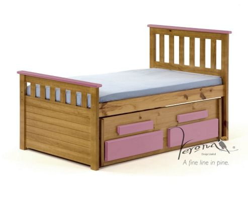 Verona Bergamo Kids Captains Bed with guest bed - Antique Pink
