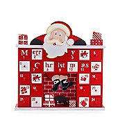 Wooden Fireplace & Father Christmas Advent Calendar in Red & White