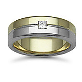 9ct Yellow & White Gold 7mm Flat Court Diamond set 15pts Solitaire Wedding / Commitment Ring