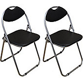 Pack of 2 Chairs - Black Padded Folding Office, Computer, Desk Chairs