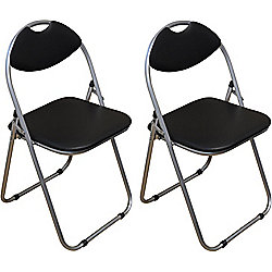 Harbour Housewares Black Padded, Folding, Desk Chair - Pack of 2