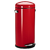 simplehuman 30 Litre Retro Round Pedal Bin, Red